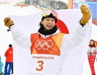 スノーボード男子ハーフパイプ決勝で2位になった平野歩夢=フェニックス・スノーパークで2018年2月14日、宮間俊樹撮影