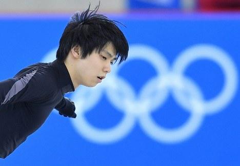 練習用リンクで調整するフィギュアスケート男子の羽生結弦=江陵アイスアリーナで2018年2月14日、手塚耕一郎撮影