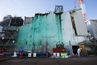 事故の痕跡が色濃く残る福島第1原発3号機=2016年9月、東京電力提供、西澤丞さん撮影