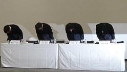 三菱マテリアルの記者会見=東京都内で2018年2月8日、今沢真撮影