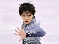男子SPで演技する宇野昌磨=江陵アイスアリーナで2018年2月16日、宮間俊樹撮影