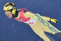 【平昌五輪】スキージャンプ男子ラージヒル予選の葛西紀明の飛躍=アルペンシア・ジャンプセンターで2018年2月16日、宮間俊樹撮影