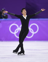 Nathan Chen of the United States skates his historic performance in the men's figure skating free program at the Gangneung Ice Arena at the 2018 Winter Olympics in South Korea, on Feb. 17, 2018. (Mainichi)