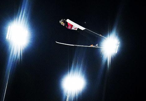 【平昌五輪】スキージャンプ男子ラージヒル、小林陵侑の1回目の飛躍=アルペンシア・ジャンプセンターで2018年2月17日、宮間俊樹撮影