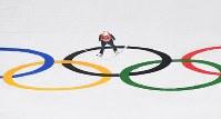 【平昌五輪】スキージャンプ男子ラージヒル、竹内択の2回目の飛躍=アルペンシア・ジャンプセンターで2018年2月17日、宮間俊樹撮影