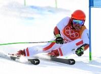 【平昌五輪】アルペン男子大回転、優勝したマルセル・ヒルシャーの1回目の滑り=竜平アルペンセンターで2018年2月18日、宮間俊樹撮影
