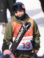 【平昌五輪】フリースタイルスキー女子ハーフパイプ決勝3回目を終えた小野塚彩那=フェニックス・スノーパークで2018年2月20日、宮間俊樹撮影