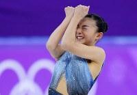 女子SPの演技を終えた坂本花織=江陵アイスアリーナで2018年2月21日、手塚耕一郎撮影