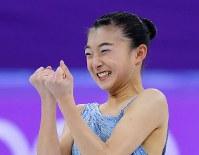 女子SPの演技を終え笑顔の坂本花織=江陵アイスアリーナで2018年2月21日、手塚耕一郎撮影