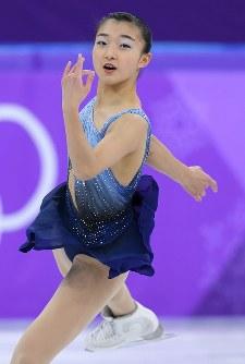 女子SPで演技する坂本花織=江陵アイスアリーナで2018年2月21日、手塚耕一郎撮影