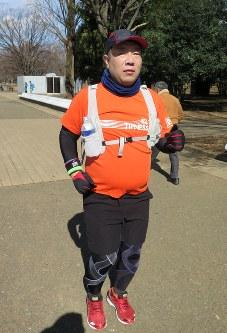 代々木公園で練習する立石憲太郎さん=渋谷区で