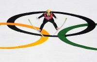【平昌五輪】複合団体、永井秀昭の前半飛躍=アルペンシア・距離センターで2018年2月22日、宮間俊樹撮影