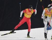 【平昌五輪】複合団体の後半距離を滑る山元豪=アルペンシア・距離センターで2018年2月22日、山崎一輝撮影