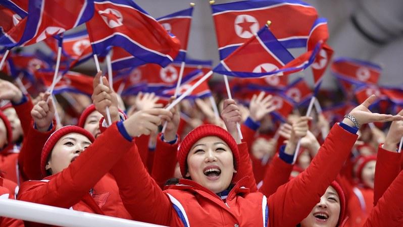 平昌五輪で国旗を手に声援を送る北朝鮮の応援団=2018年2月14日、佐々木順一撮影