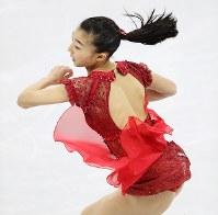 女子フリーで演技する坂本花織=江陵アイスアリーナで2018年2月23日、佐々木順一撮影