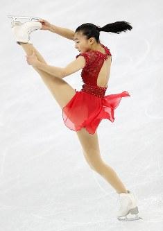 女子フリーで演技する坂本花織=江陵アイスアリーナで2018年2月23日午後1時27分、佐々木順一撮影