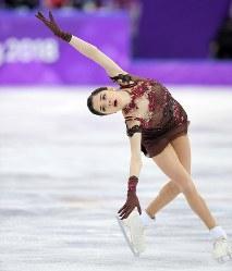 女子SPで演技するメドベージェワ=江陵アイスアリーナで2018年2月23日、手塚耕一郎撮影