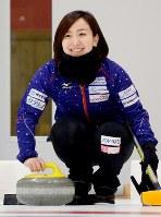 初のメダル獲得を目指すLS北見の藤沢五月=北見市常呂町で2017年12月3日午前10時12分、三沢邦彦撮影