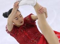 女子シングルで6位になった坂本花織のフリーの演技=江陵アイスアリーナで2018年2月23日、佐々木順一撮影