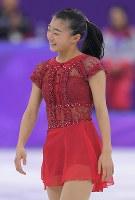 【平昌五輪】女子フリーの演技を終え、苦笑いする6位の坂本花織=江陵アイスアリーナで2018年2月23日、手塚耕一郎撮影