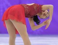 【平昌五輪】女子フリーで演技する6位の坂本花織=江陵アイスアリーナで2018年2月23日、手塚耕一郎撮影