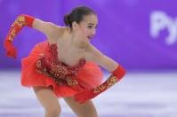【平昌五輪】女子フリーで演技する優勝したOARのアリーナ・ザギトワ=江陵アイスアリーナで2018年2月23日、手塚耕一郎撮影