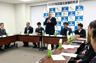 大阪府警本部で開かれた第1回府警察防犯対策高度化協働研究会=伊藤遥撮影