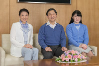 From left, Crown Princess Masako, Crown Prince Naruhito and their daughter Princess Aiko are seen in this photo provided by the Imperial Household Agency on the occasion of Crown Prince Naruhito's 58th birthday on Feb. 23, 2018.