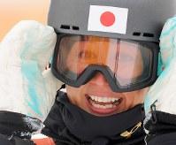 【平昌五輪】予選2回目を滑り終え、笑顔を見せる竹内智香=フェニックス・スノーパークで2018年2月24日、手塚耕一郎撮影
