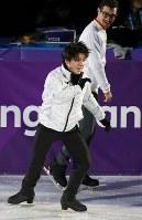 エキシビションの前日練習で演技を確認する宇野昌磨=江陵アイスアリーナで2018年2月24日、佐々木順一撮影