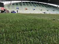 テント小屋のような装置(奥)により、人工芝の繊維を埋め込まれたハイブリッド芝=神戸市兵庫区のノエビアスタジアムで2018年2月13日、丹下友紀子撮影