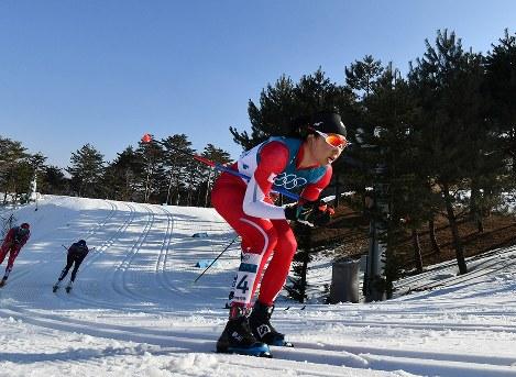 【平昌五輪】スキー女子距離30キロクラシカルで力走する石田正子=アルペンシア距離センターで2018年2月25日、宮間俊樹撮影