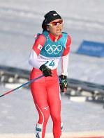 【平昌五輪】スキー女子距離30キロクラシカルで10位でフィニッシュした石田正子=アルペンシア距離センターで2018年2月25日、宮間俊樹撮影