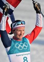 【平昌五輪】スキー女子距離30キロクラシカルで優勝したマリット・ビョルゲン=アルペンシア距離センターで2018年2月25日、宮間俊樹撮影