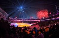 平昌五輪の閉会式=平昌五輪スタジアムで2018年2月25日、手塚耕一郎撮影