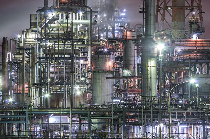 夜景 大阪 工場 大阪府/高石の工場夜景を眺める市道高砂1号線