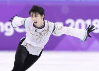 平昌五輪フィギュア男子フリーで演技する羽生結弦選手=韓国・江陵アイスアリーナで2018年2月17日