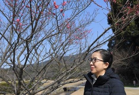 大宰府展示館わきに開いた梅の花と酒井順子さん=福岡県太宰府市で、津村豊和撮影