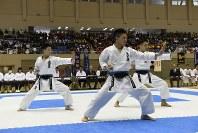 男子団体形決勝、ウンスーを演武する世田谷学園高校チーム=2017年3月