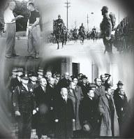 左上から時計回りに▽首相として訪米中にアイゼンハワー米大統領とゴルフを楽しむ岸信介▽南京入城式で先頭を行く馬上の松井石根指揮官▽東京裁判の法廷玄関に並ぶA級戦犯の被告たち=コラージュ・立川善哉