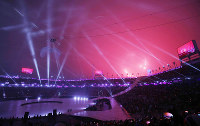 The opening ceremony of the Pyeongchang Paralympic Winter Games lights up the Olympic Stadium in Pyeongchang, South Korea, on March 9, 2018. (Mainichi)