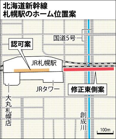北海道新幹線札幌駅のホーム位置案