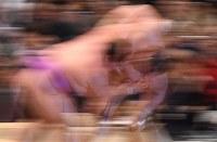 嘉風(左)が寄り切りで北勝富士を破る=エディオンアリーナ大阪で2018年3月12日、山崎一輝撮影