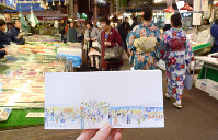 まち歩き一筆箋の「近江町市場」。金沢の台所のにぎやかな雰囲気が伝わってくる=金沢市の近江町市場で、道岡美波撮影
