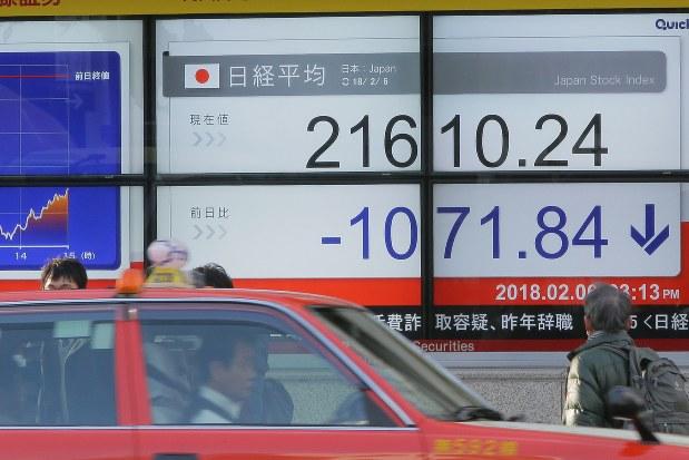 2月上旬に株価は大幅下落(2月6日、東京都中央区で和田大典撮影)