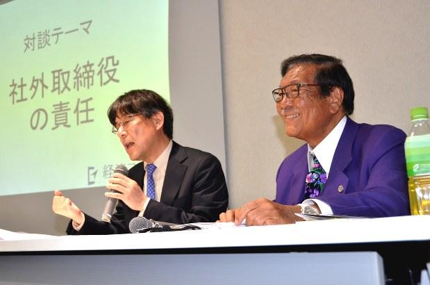 イベント参加者の質問に答える久保利英明弁護士(右)と今沢真・経済プレミア編集長