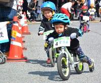 ランニングバイクにまたがり、地面を足で蹴ってゴールを目指す子どもたち=富岡市富岡で