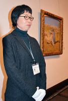 大原美術館の監視員を務める西尾幸恵さん=岡山県倉敷市中央1の同館で、高橋祐貴撮影