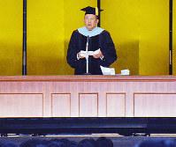 卒業式であいさつする加計孝太郎理事長=岡山市北区の岡山理科大で2018年3月20日、高橋祐貴撮影