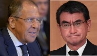 Japanese Foreign Minister Taro Kono (right, Mainichi) and Russian Foreign Minister Sergey Lavrov (AP)